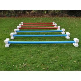 Set 12 cavalettiblokken, 6 springbalken 3.00m kunststof met houten kern