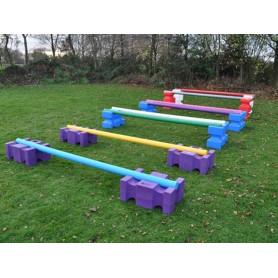 Set 12 cavaletti-block Maxi met 8 kunststof springbalken met houten kern 3,00m