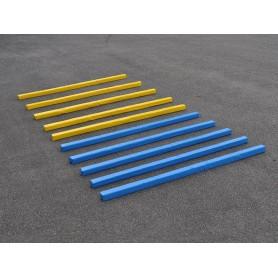 Set van 10 zachte blauw en gele paardentrainings balken