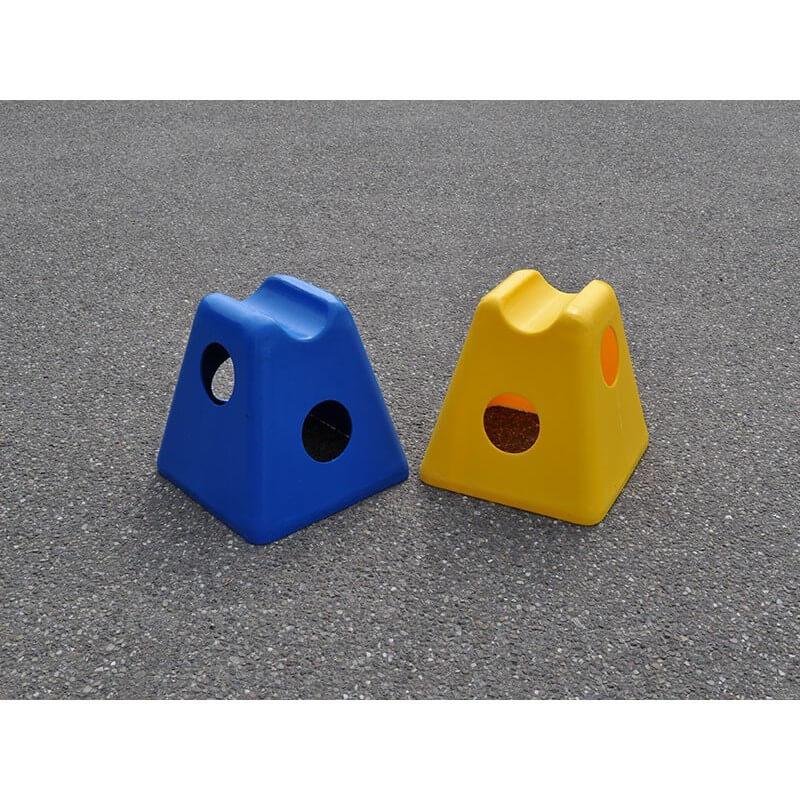Cavaletti pionnen blauw en geel voor paardentraining