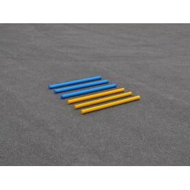Kunststof trainingsbalken 175 cm met houtkern geel en blauw