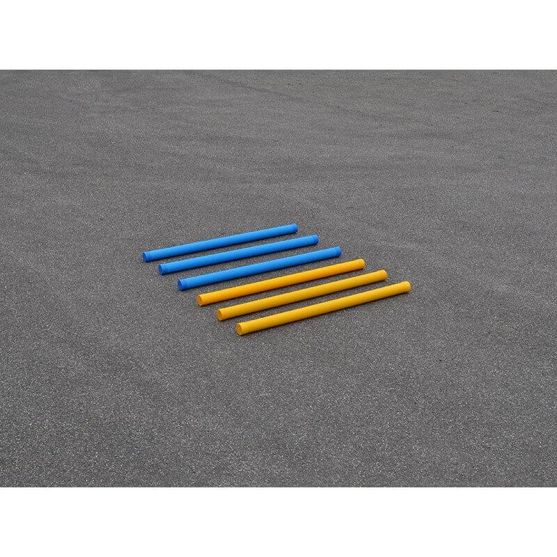 Hindernisbalk kunststof geel en blauw verzwaard
