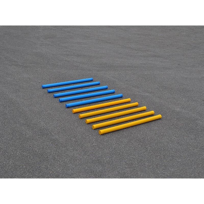 Set van 10 hindernisbalken 175 cm kunststof in blauw en geel