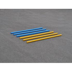 Set van 6 hindernisbalken in blauw en geel