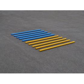 Set van 10 hindernisbalken in blauw en geel 300 cm