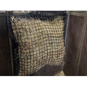 Slowfeeder zwart pvc gecoat 100cm x 100cm mazen 4 cm