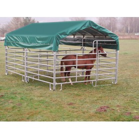 Schuilhut paarden 6 m x 3,6 m met zijpanelen